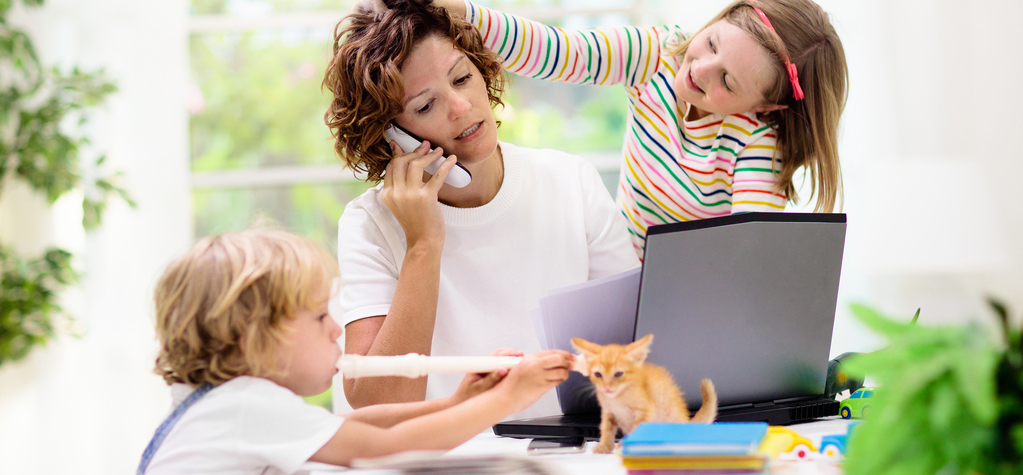 healthy, workspace, home, single parent, remote